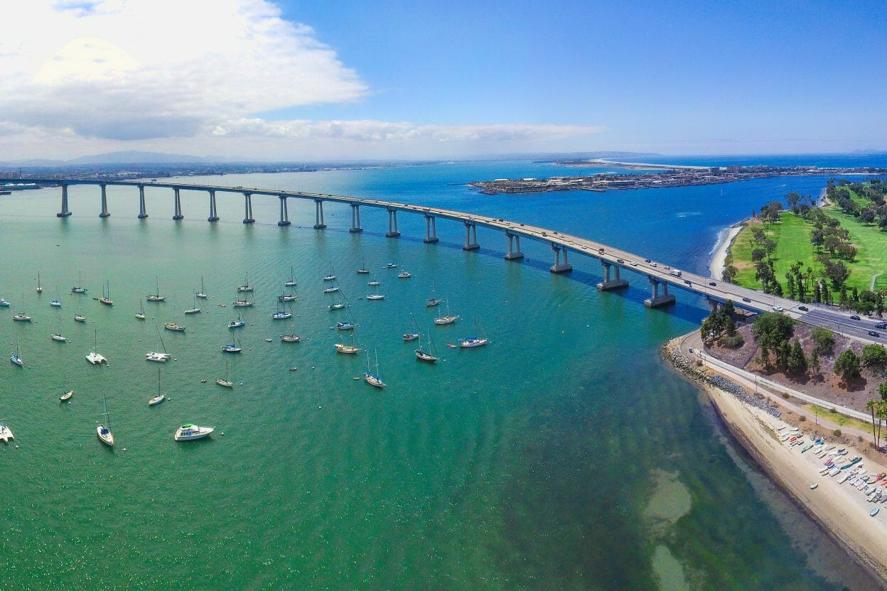 San Diego to Coronado Bridge Arial Shot