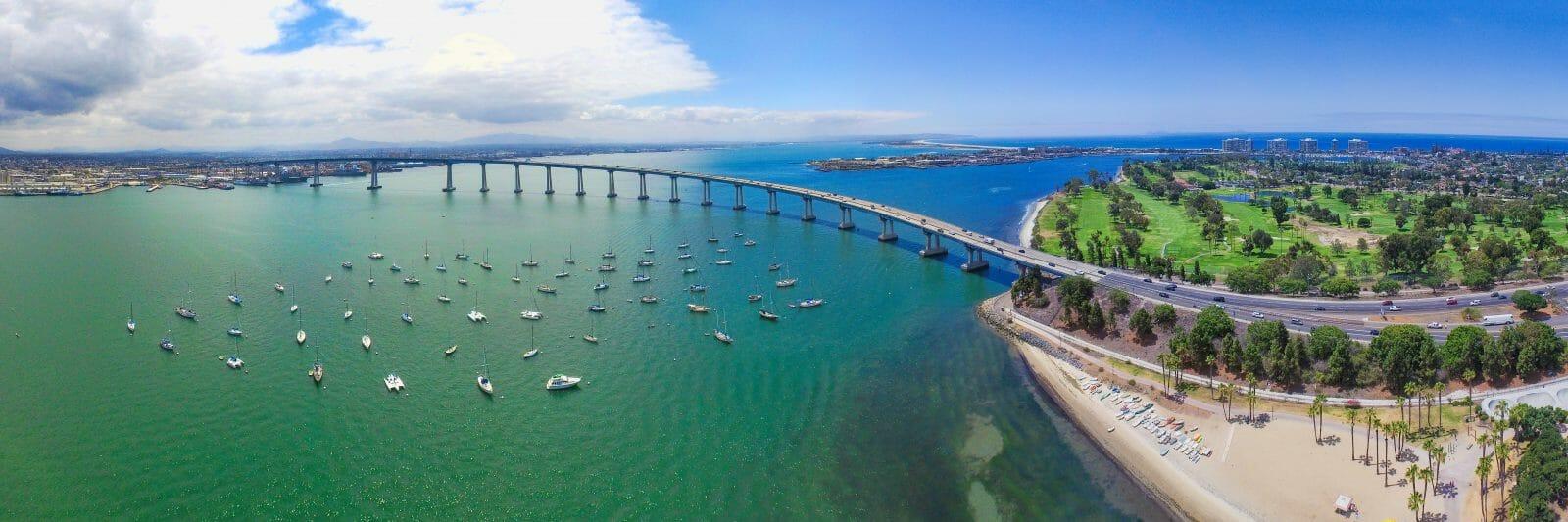 San Diego to Coronado Bridge Arial Shot