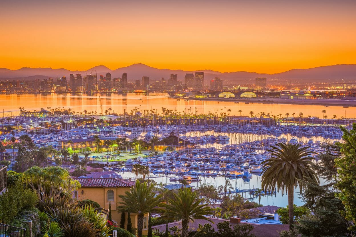 San Diego downtown cityscape from Point Loma.