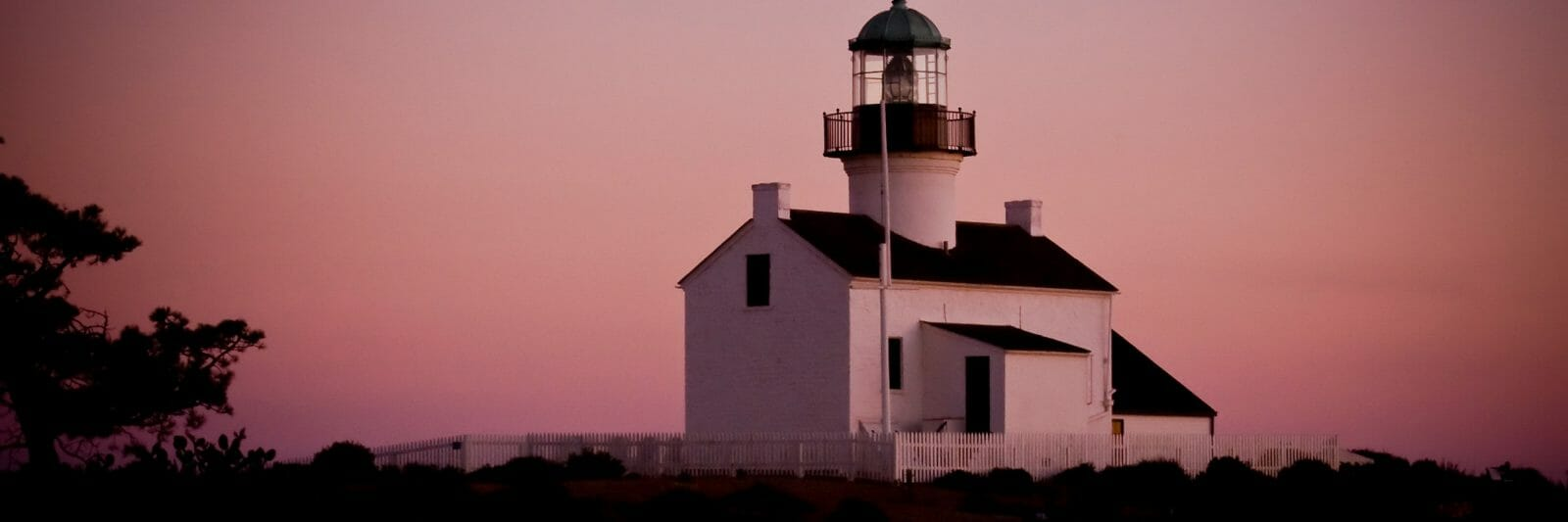 At dusk there is an eerie glow coming off of the old Point Loma lighthouse in San Diego, CA