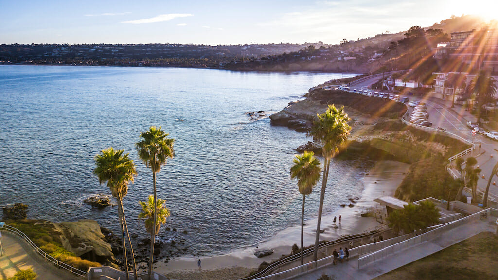 Drone shooting in San Diego California, La Jolla Cove area, November 24, 2017