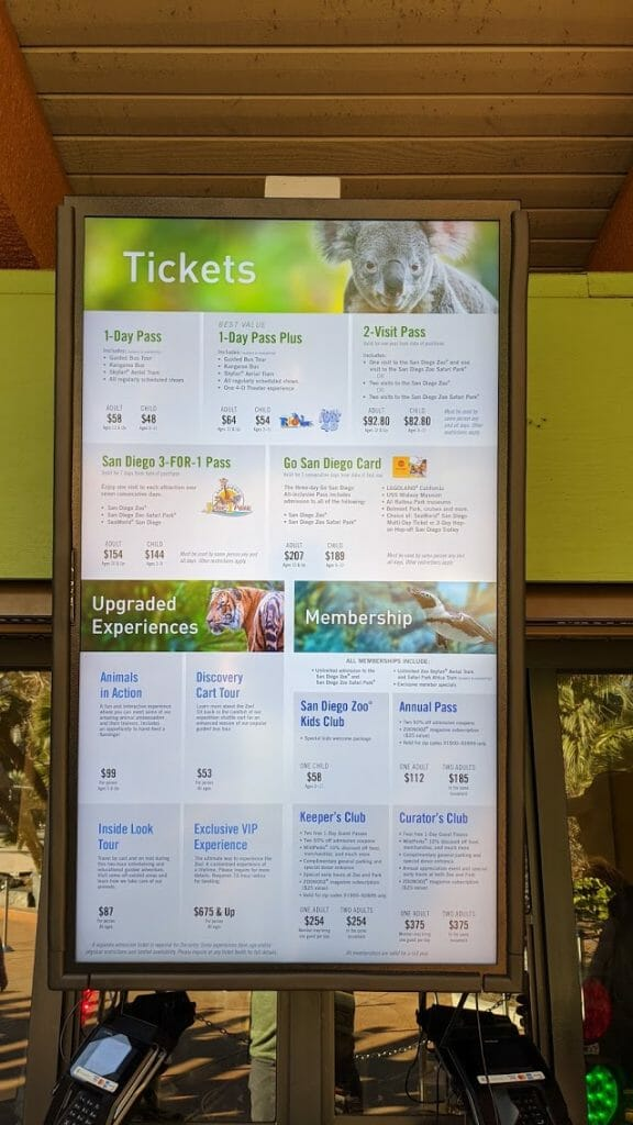 Poster of San Diego Zoo Ticket Prices