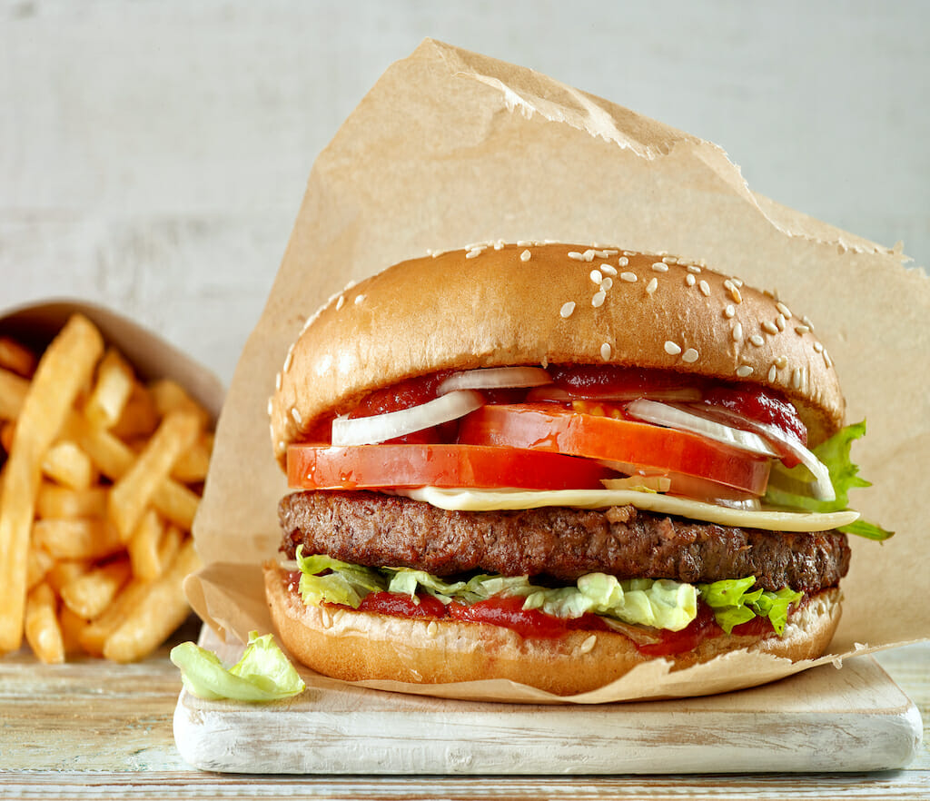 fresh tasty burger and french fries