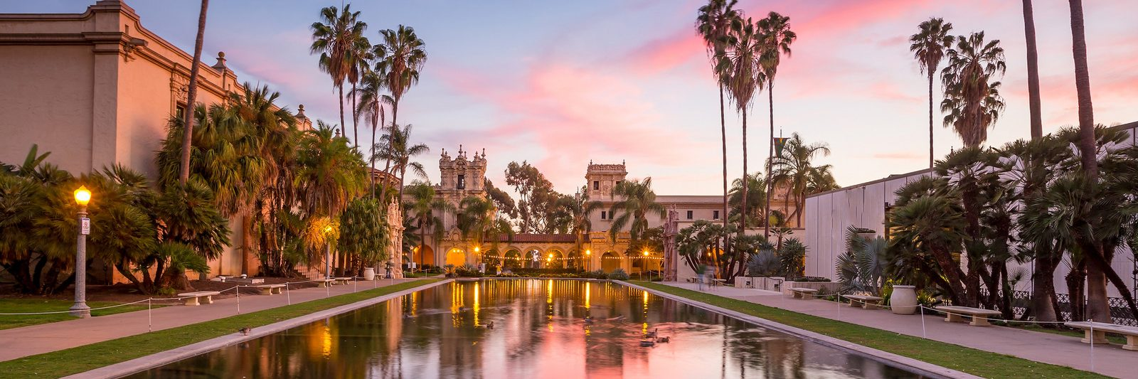 Casa De Balboa at sunset, Balboa Park, San Diego