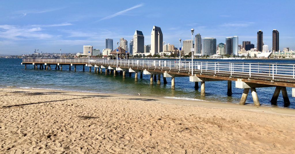 Coronado Ferry Landing Pier with San Diego Skyline in the background