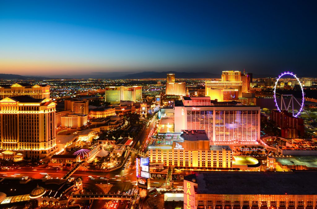 View over the lights of Las Vegas at Sunset from a high view point.