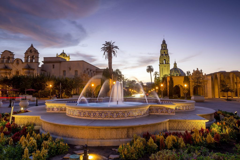Fountain at Balboa Park at sunset