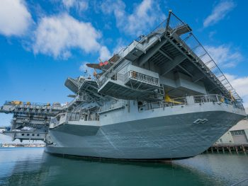 USS Midway looking up from the boardwalk in Downtown San Diego