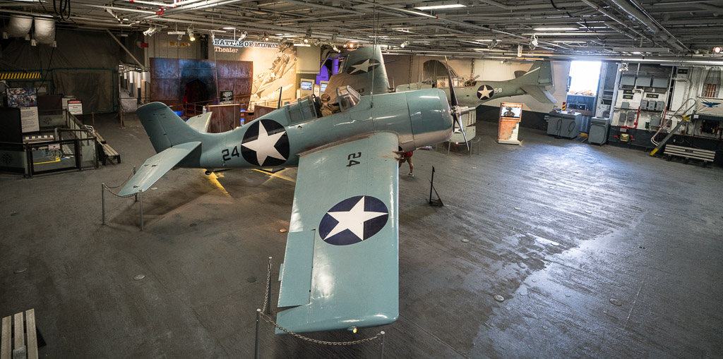 Old WW II Airplane inside the aircraft carrier USS Midway