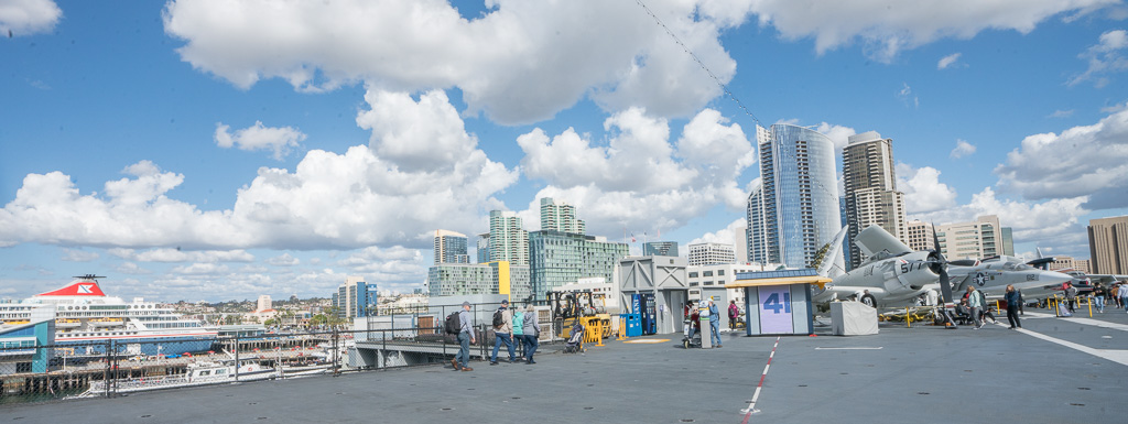 View over Downtown San Diego from the flight deck on the USS Midway