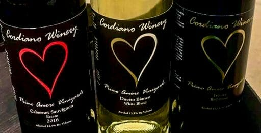 3 bottles of wine with label by Cordiano Winery