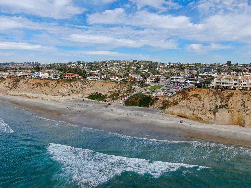 Aerial view of Solana Beach and cliff, California coastal beach with blue Pacific ocean. San Diego County, California, USA