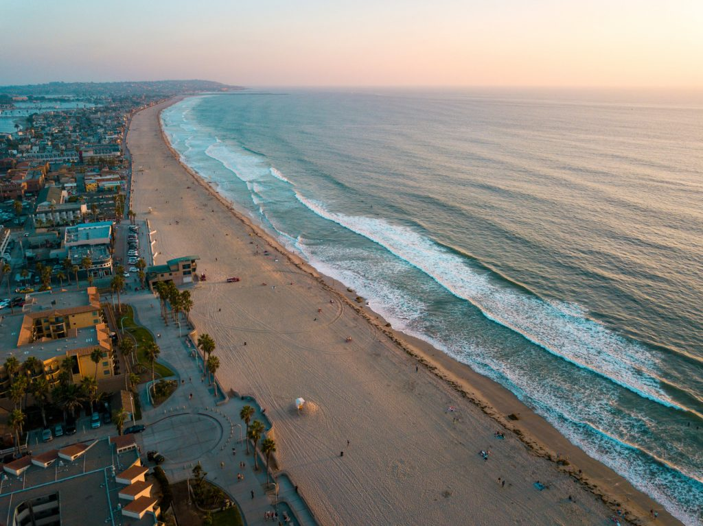 Mission Beach San Diego Aerial shot at sunset