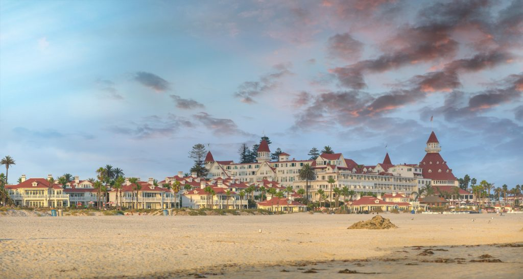 Panoramic sunset view of San Diego Hotel del Coronado, California.