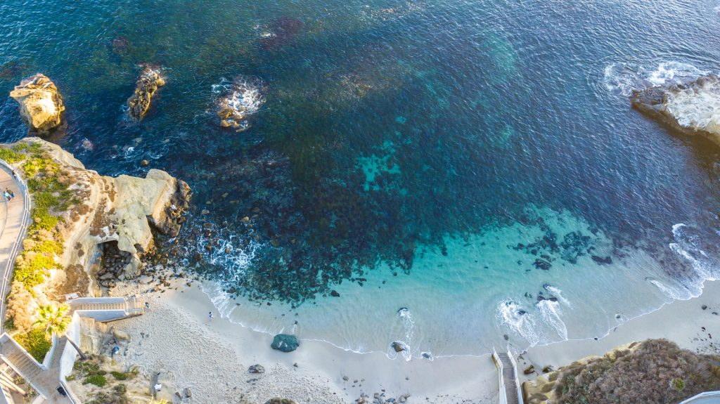 Drone shooting in San Diego California, La Jolla Cove area