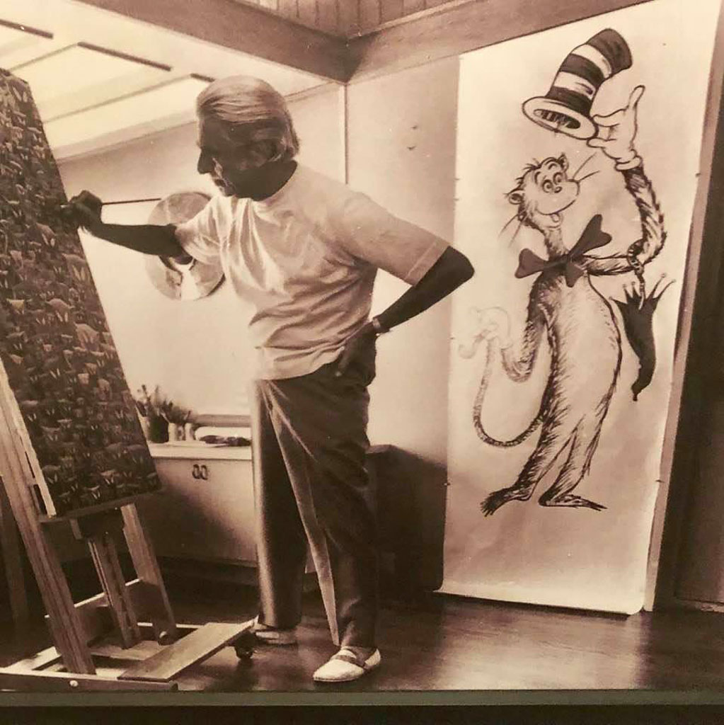 Vintage Photo of Theodor Geisel aka Dr. Seuss in his studio painting