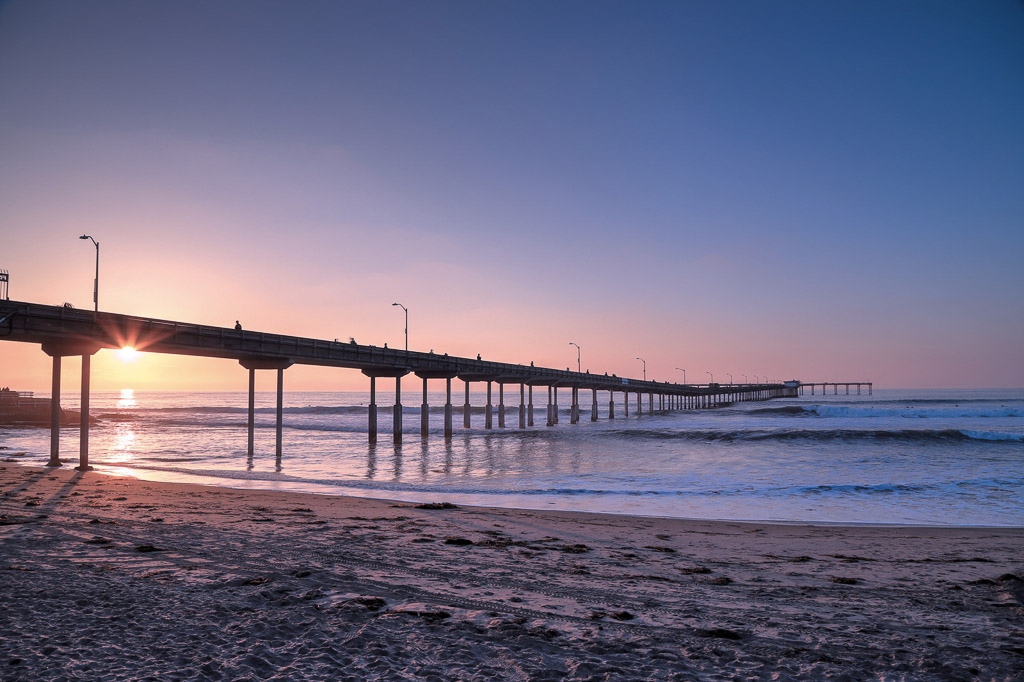 The sunset over the Ocean Beach Pier near San Diego, California.