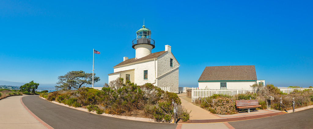 Cabrillo National Monument, San Diego Bay.Panoramic view of an Old Point Loma lighthouse, clear blue sky background