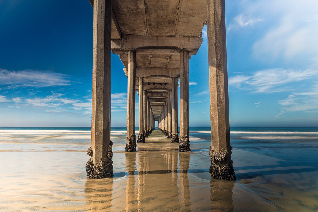 Columns of Scripps Pier, La Jolla, California.