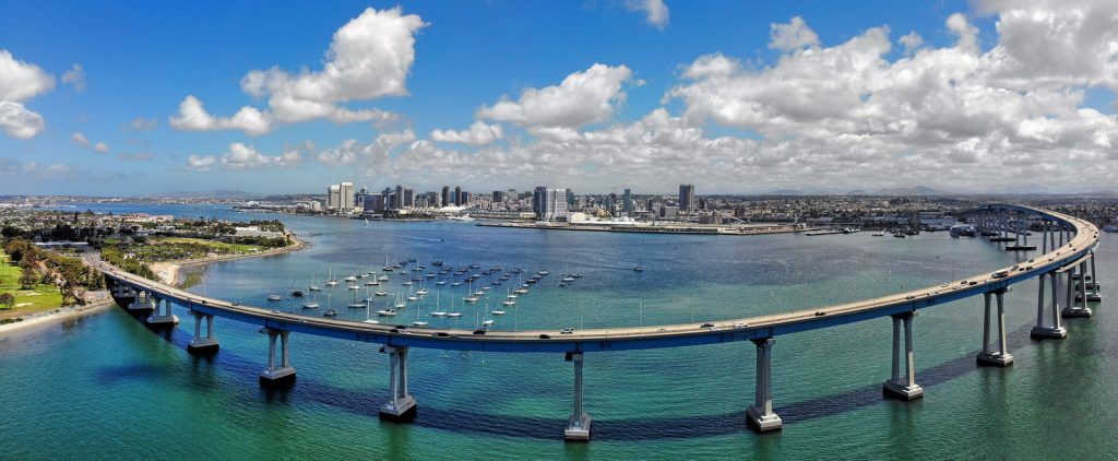 Aerial View of Coronado Bay Bridge Taken from the southern side of the bridge, with the San Diego skyline in the background
