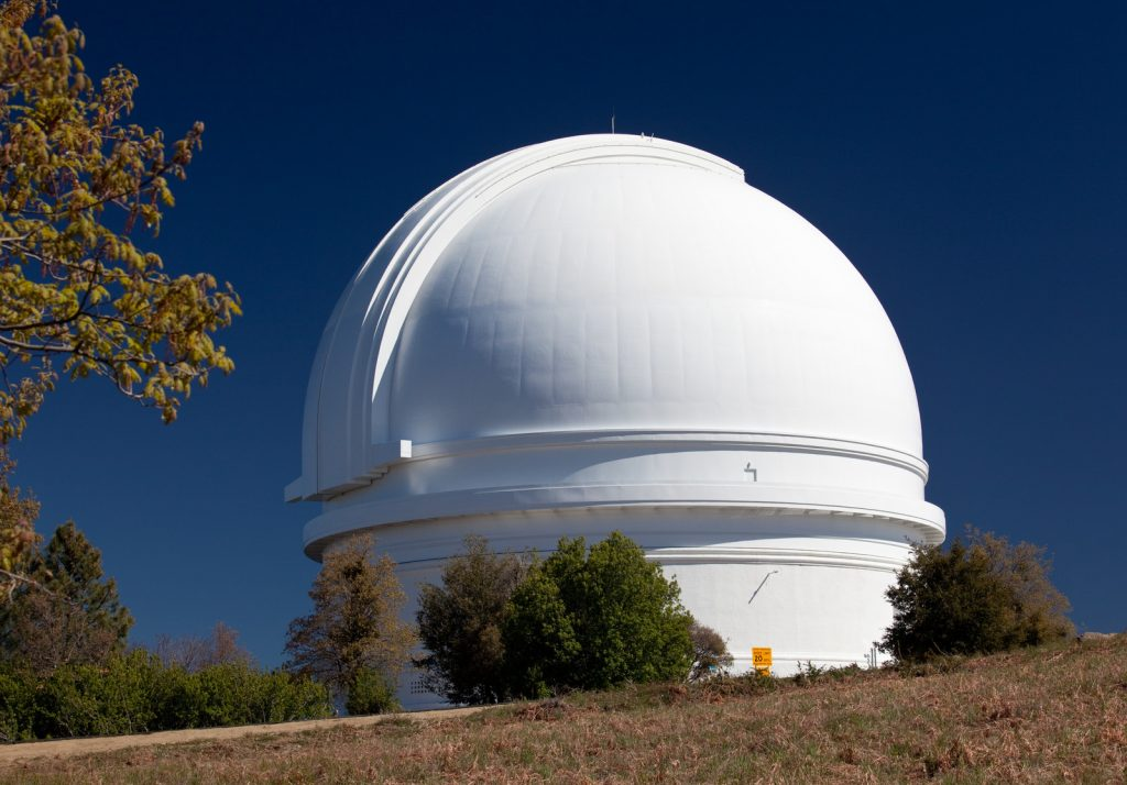 White dome of the Palomar telescope on the peak of Mt Palomar in California