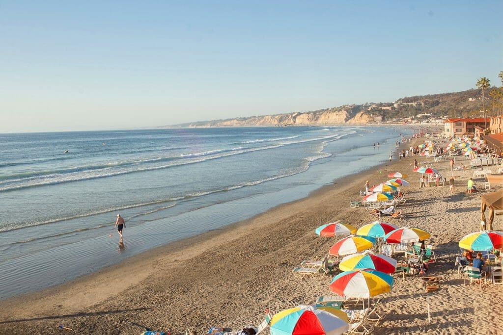 Beach with colorful beach umbrellas at the La Jolla Beach & Tennis Club