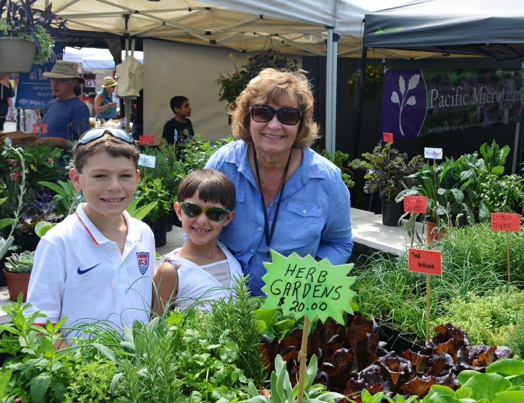 Woman in blue shirt with two young children at the farmers market