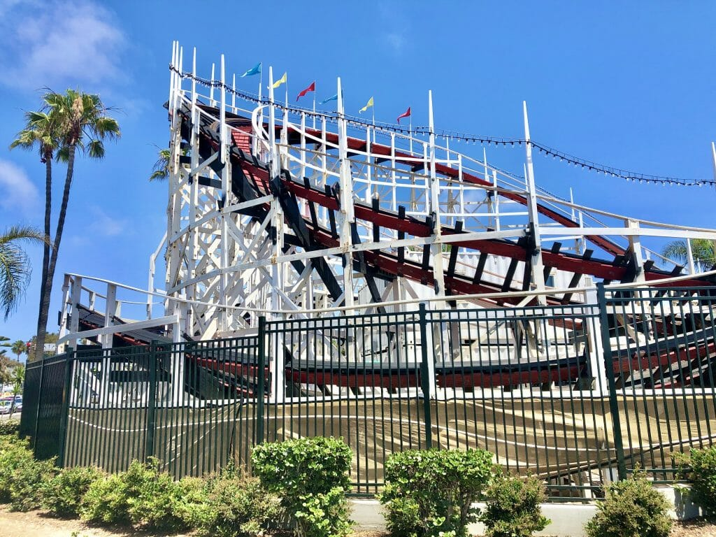 White wooden Belmont Park Roller Coaster