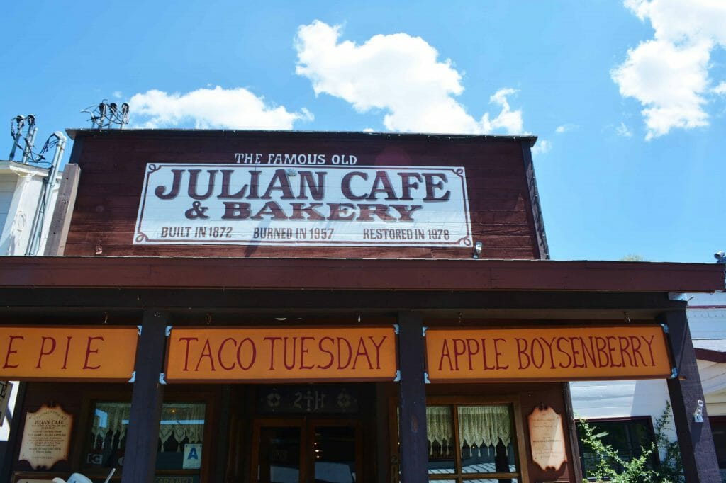 Julian Cafe and Bakery - sign over entrance of the Julian Cafe and Bakery - Best Apple Pie in Julian -