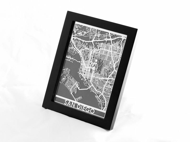 Black framed black and white map of San Diego on white background