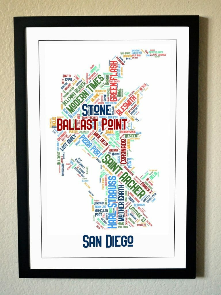 Black-framed picture, outlining the map of san diego, but instead of streets, it features local San Diego Breweries in different fonts and colors