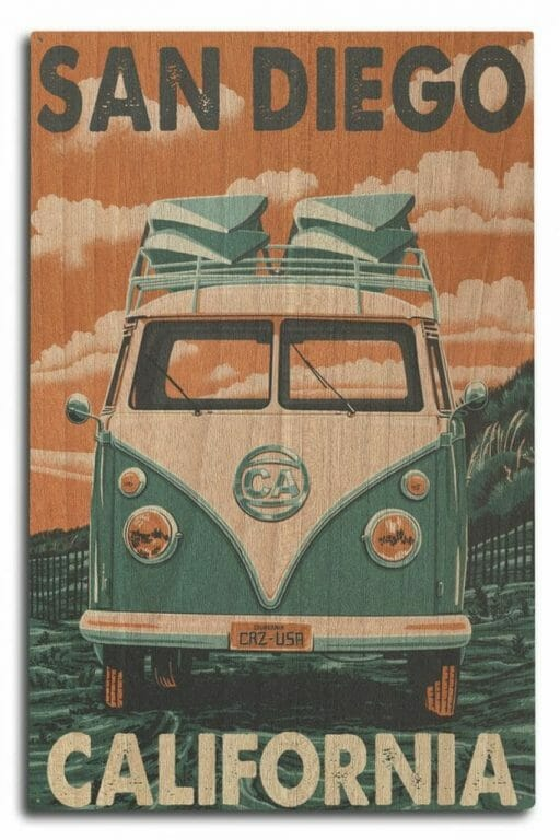 Wooden plank printed with a vintage VW bus in a turquoise and orange color scheme