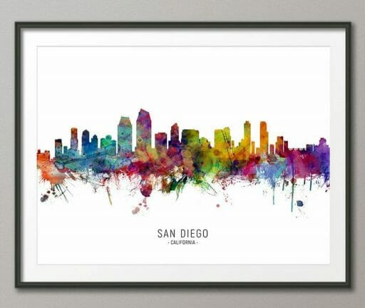 "black framed picture on gray wall showing outline of San Diego colored with bright watercolors dripping down from the ""horizon"