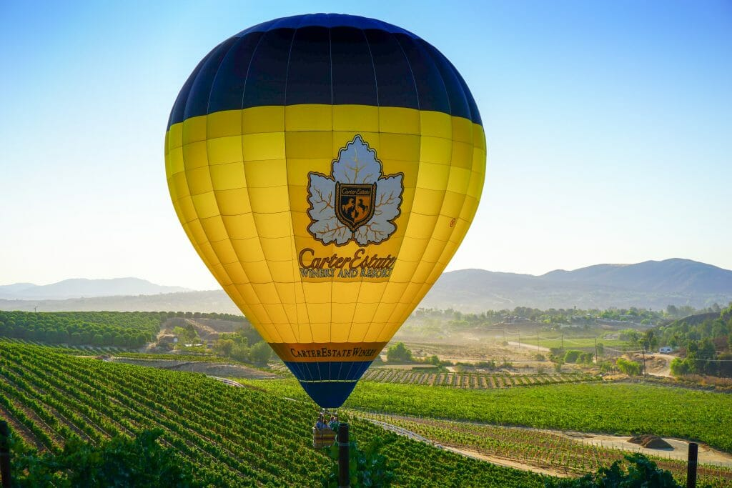 Carter Estate Winery & Resort Hot Air Balloon over Temecula Valley