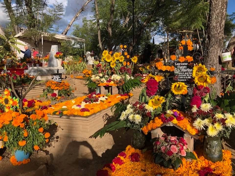 Cemetery decorated for Dia de Los Muertes
