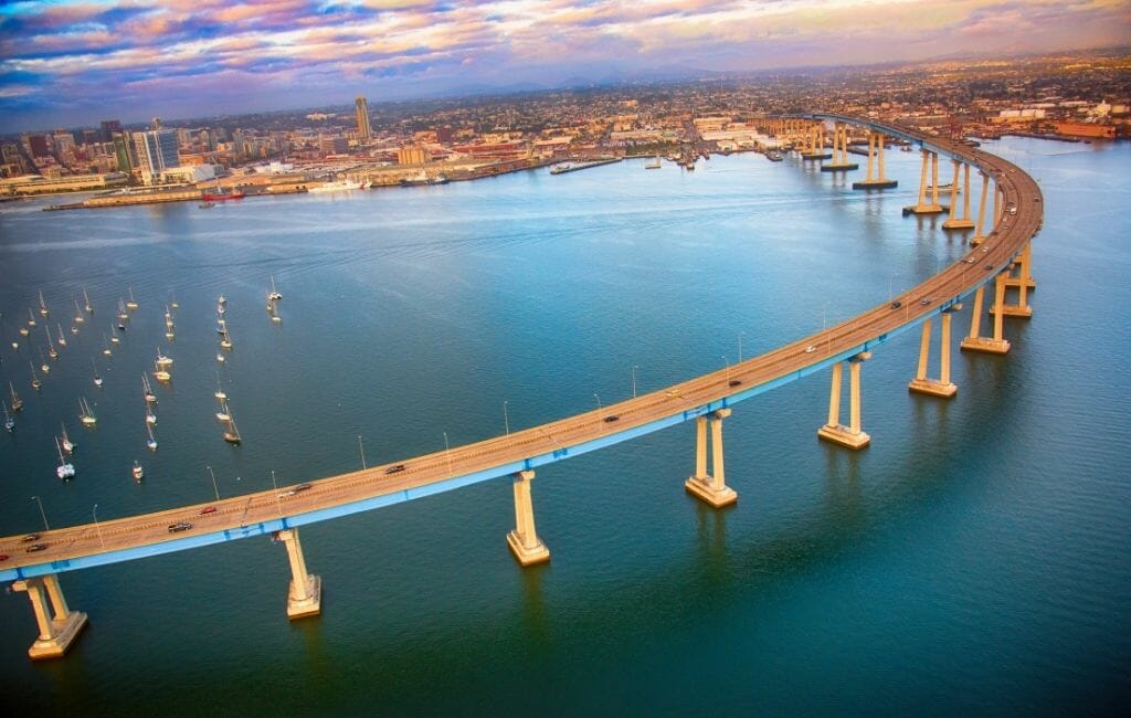 Aerial view of Coronado Bay Bridge at sunrise