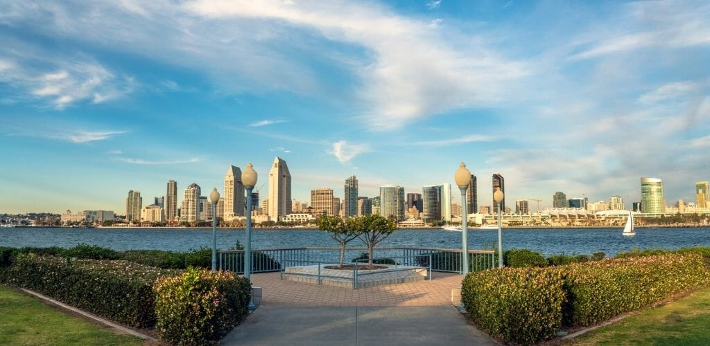 Bayside Promenade in Coroado with view of San Diego skyline in the background