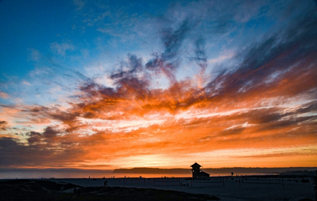 Dramatic clouds and Orange and blue sky during sunset on Coronado Island