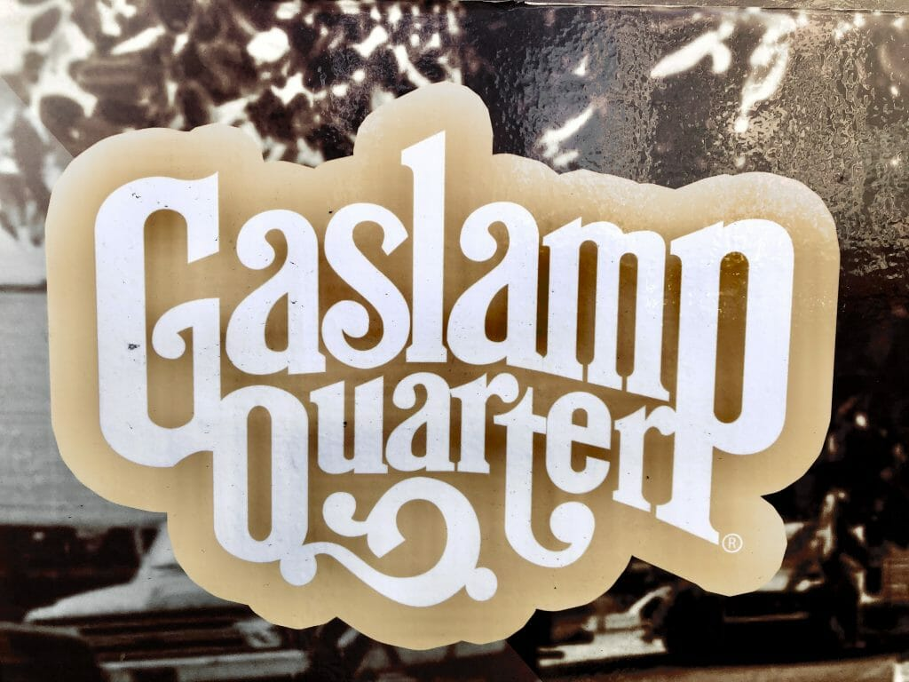 Window sticker with the logo of the Gaslamp Quarter