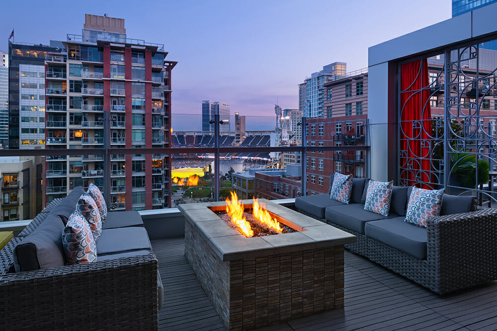 Rooftop terrace with view of Petco Park from Hotel Indigo San Diego