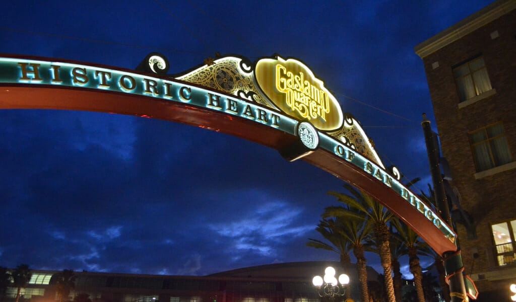 Lid up arch spanning over 5th avenue - entrance to the historic San Diego Gaslamp Quarter