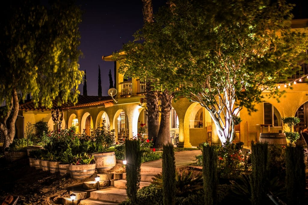 Night shot of the Inn at Europa Village
