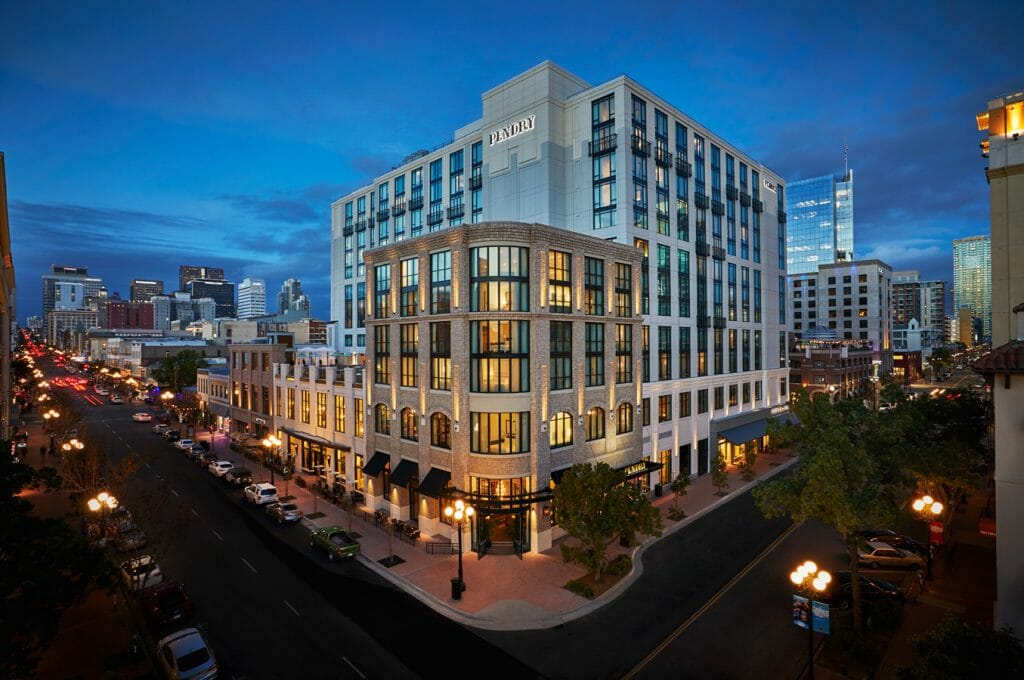 Outside shot of Pendry Hotel building during blue hour