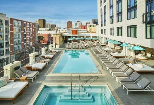 Rooftop pool and Jacuzzi at the Pendry Hotel San Diego Downtown