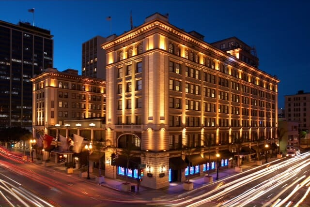 Outside of the US Grant Hotel San Diego, night shot with long exposure during blue hour