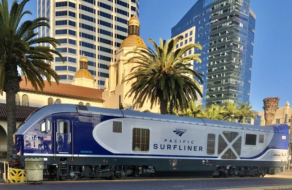 Surfliner Train cart in front of Union Station San Diego