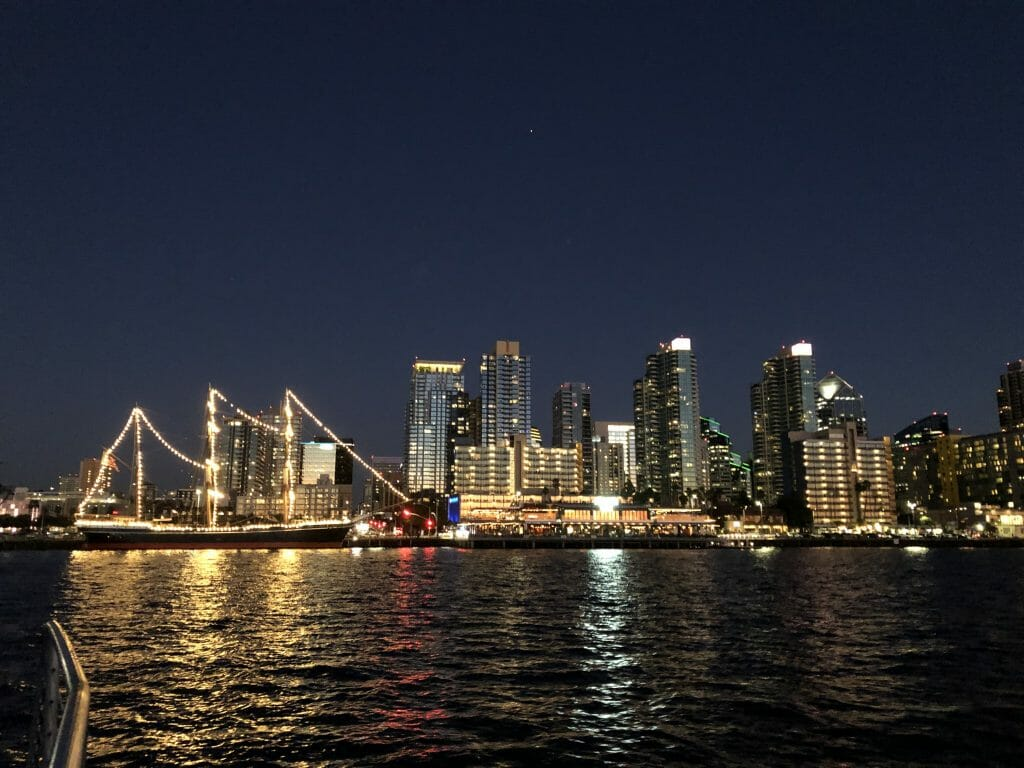 View of the San Diego Skyline at night from a Bay Cruise