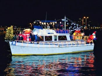 San Diego Bay Parade of Lights Boat with Christmas lights and decoration