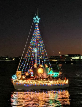Sail boat with christmas lights and decoration
