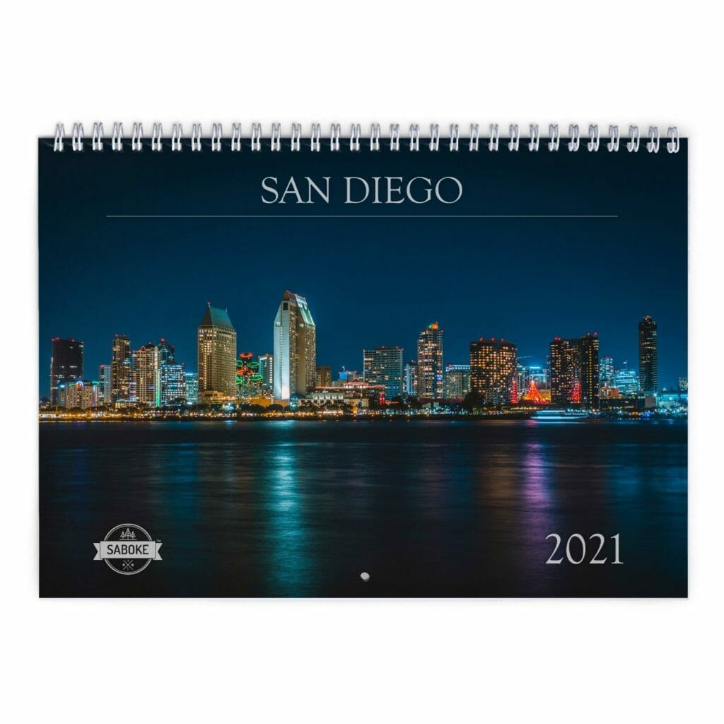 Picture wall calendar for San Diego